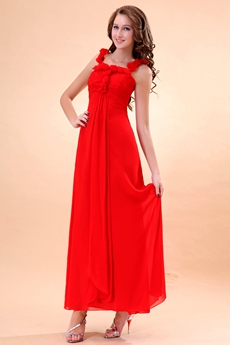 Delicate Double Straps Ankle Length Red Chiffon Junior Prom Dress