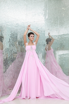 Charming Double Straps Empire Pink Chiffon Maternity Prom Dress