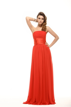 Simple Red Chiffon Prom Pageant Dress