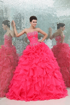 Terrific Sweetheart Hot Pink Organza Sweet Fifteen Dress