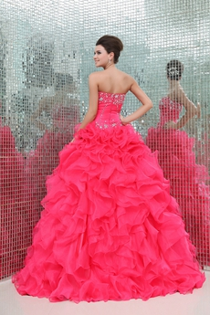 Terrific Sweetheart Hot Pink Organza Sweet Fifteen Dress