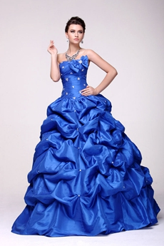 Beautiful Military Ball Gown Floor Length Taffeta Royal Blue Sweet 15 Dress