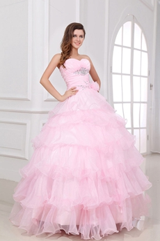 Junoesque Ball Gown Sweetheart Full Length Pink Organza Quinceanera Dress