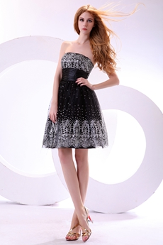Terrific Strapless Mini Length Black & Silver Damas Dress
