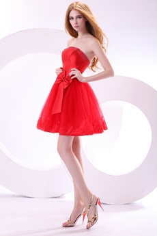 Modern Strapless Puffy Red Sweet Sixteen Dress With Bowknot