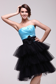 Short Puffy Blue & Black Quinceanera Dress For Damas