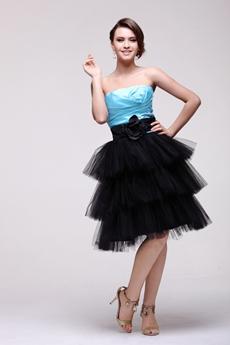 Short Puffy Blue & Black Quinceanera Dress For Damas