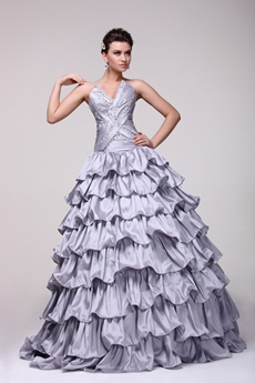 Discount V-neckline Ball Gown Silver Gray Quinceanera Dress