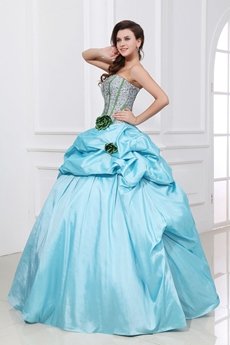 Exclusive Strapless Ball Gown Blue & Silver Sweet 15 Dress
