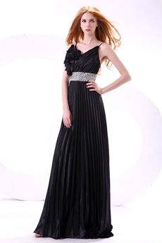 Spaghetti Straps A-line Black Satin Formal Evening Dress With Ruffles