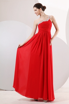 Retro One Shoulder A-line Red Chiffon Prom Party Dress