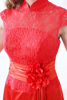 High Collar Red Satin & Lace Modest Prom Dress