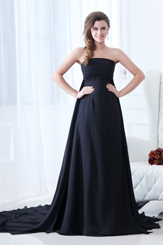 Flattering Strapless Empire Full Length Black Chiffon Plus Size Prom Dress