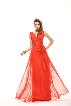 Terrific V-neckline Red Evening Dress