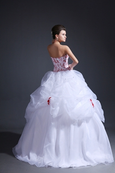 Exclusive Ball Gown Organza Red & White Quinceanera Dress 2016