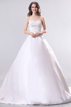Exquisite Sweetheart Embroidery Satin Plus Size Wedding Dress With Buttons