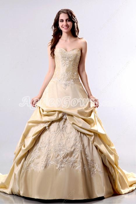Sweetheart Taffeta Champagne Embroidery Mature Wedding Dress
