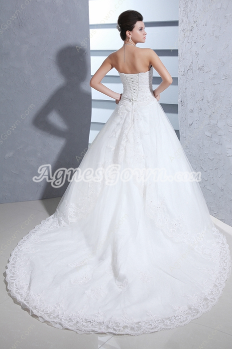 Traditional Corset Back Lace Wedding Dress