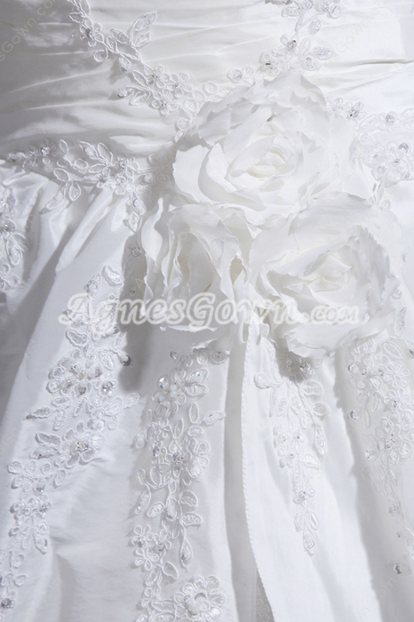 Best Cap Sleeves Ball Gown Wedding Dress With Handmade Flowers