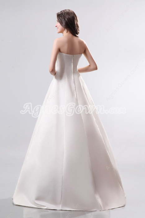 Modern Strapless Satin & Lace Plus Size Wedding Dress