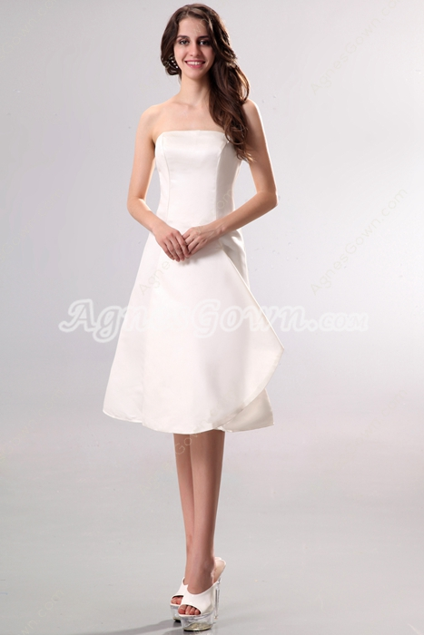 Simple Satin Knee Length Beach Wedding Dress