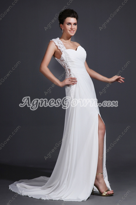 One Shoulder High Slit Summer Beach Wedding Dress