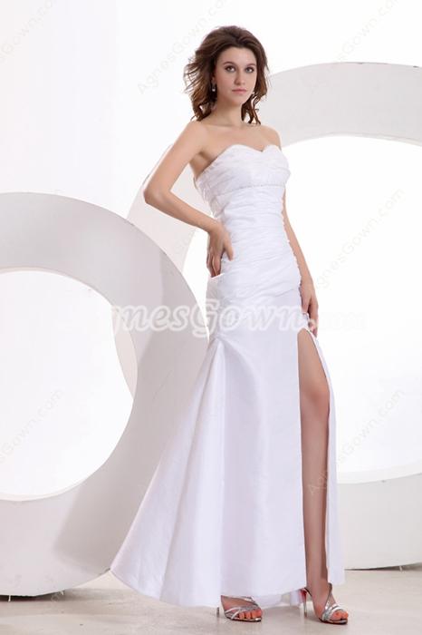 Modern Shallow Sweetheart Column White Cocktail Dress Front Slit