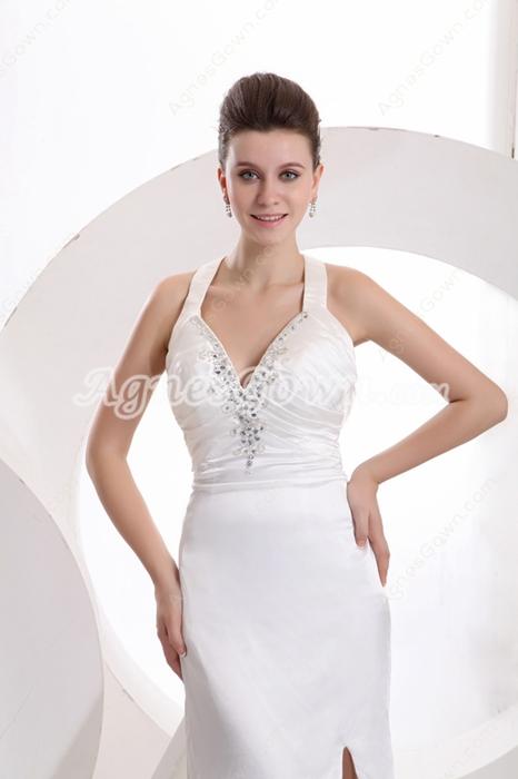 Sexy Halter Long Evening Dress High Slit