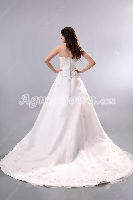 Desirable Strapless Embroidery Organza Wedding Dress 2016