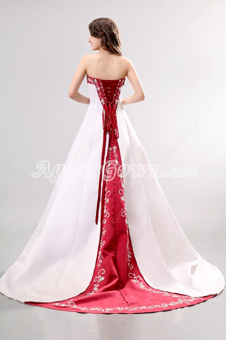 Dramatic Colorful Satin Red & White Wedding Dress
