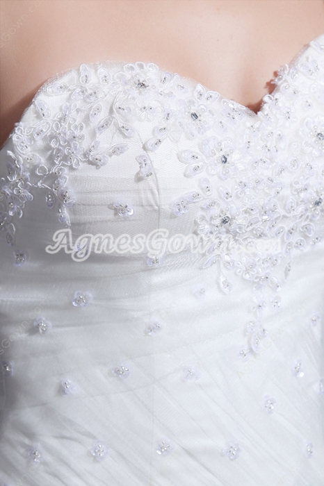 Fairytale Sweetheart Sheath Puffy Wedding Dress Dropped Waist