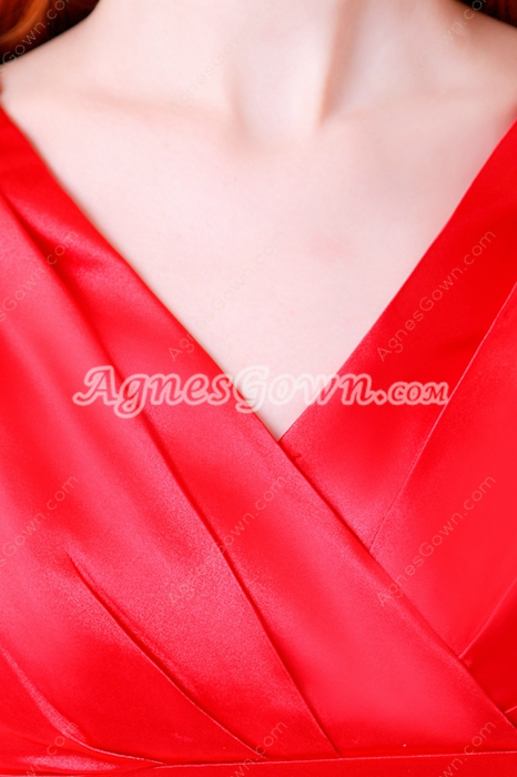Modest V-Neckline Ankle Length Red Satin Junior Prom Dress