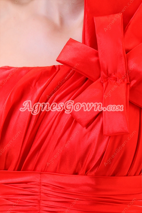 One Shoulder Red Sequined Lace Formal Evening Dress