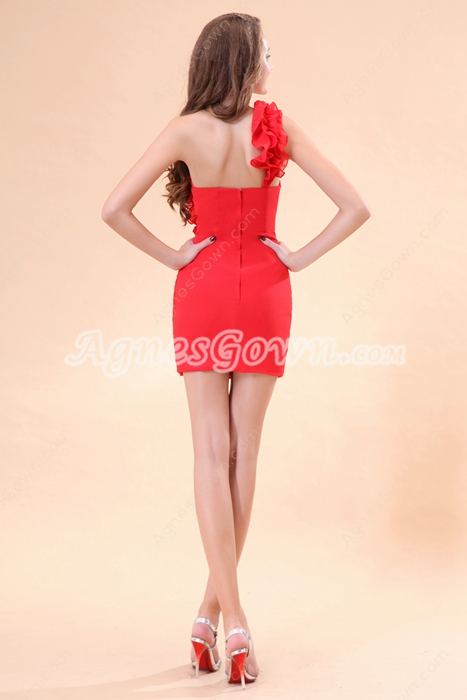 Sexy One Shoulder Sheath Red Short Cocktail Party Dress