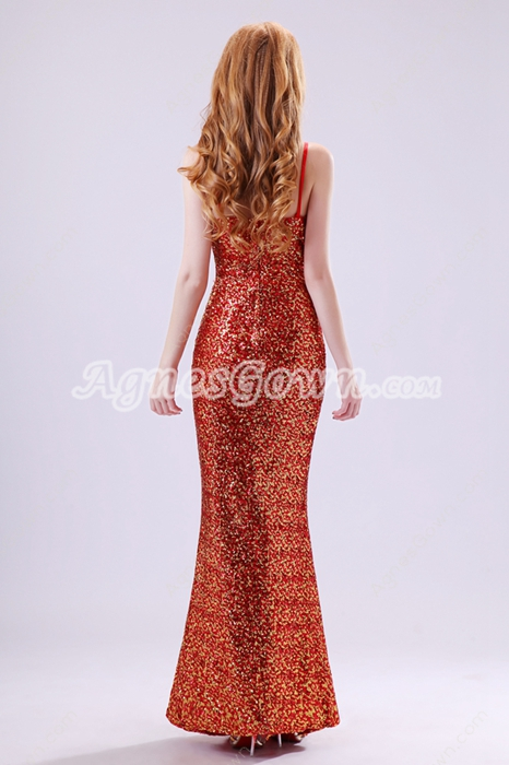 V-Neckline Sparkled Red & Gold Sequined Prom Dress