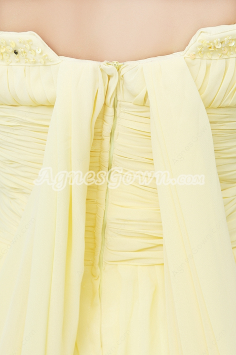 Magical Strapless A-line Daffodil Yellow Prom Dress With Beads