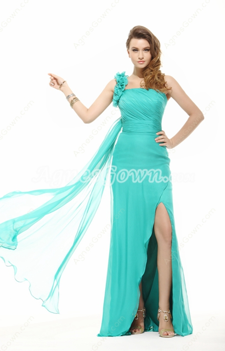 Fabulous One Shoulder A-line Jade Green Chiffon Cocktail Dress With Ribbon