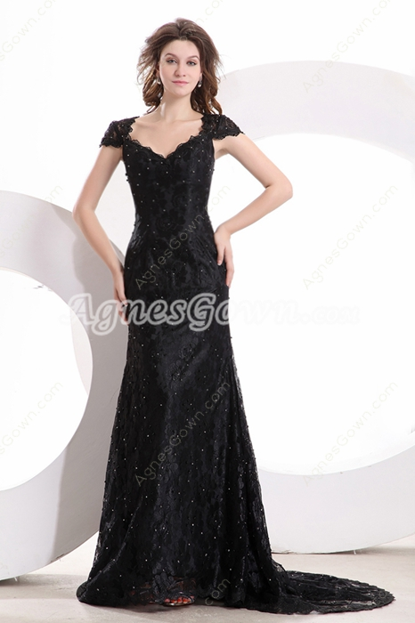 Cap Sleeves V-Neckline A-line Full Length Black Lace Prom Dress With Sequins