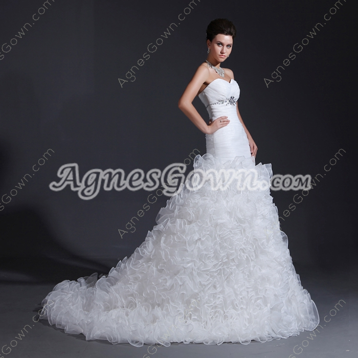 Stylish Sweetheart Sheath Puffy Organza 2016 Wedding Dress