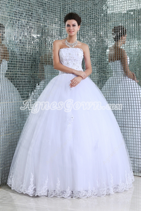 Fantastic Strapless Full Length White Quinceanera Dress