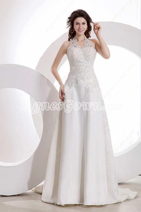 Modesty Top Halter A-line Plus Size Wedding Dress With Buttons