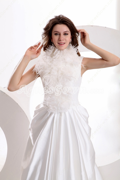 Keyhole Back High Collar White Satin Wedding Dress With Feather