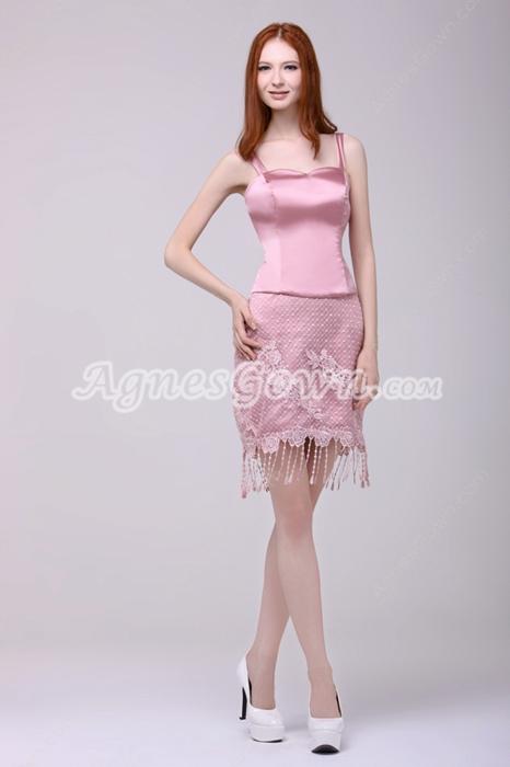 Spaghetti Straps Mini Length Dusty Rose Wedding Guest Dress With Tassel