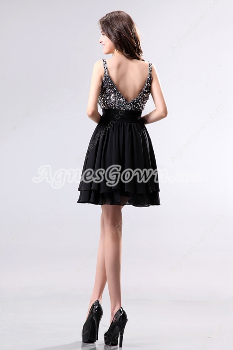 Luxury Spaghetti Straps Black Chiffon Cocktail Dress With Great Handwork