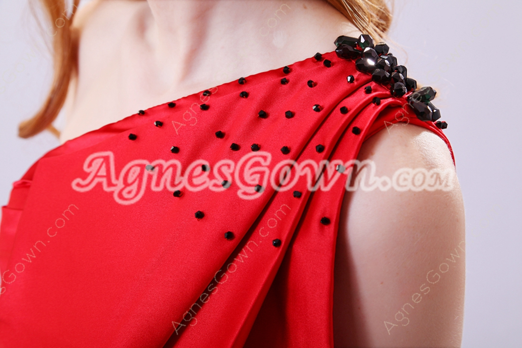 Dazzling One Shoulder Sheath Mini Length Red Graduation Dress