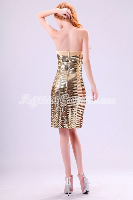 Sparkled A-line Knee Length Gold Sequined Wedding Guest Dress