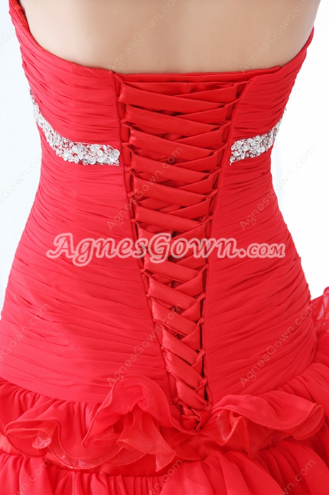 Chic Sweetheart A-line Mini Length Red Cocktail Dress Corset Back