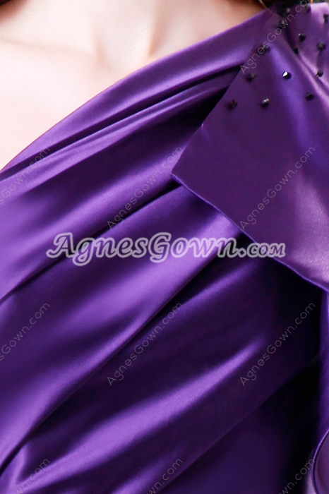 Showy One Shoulder Mini Length Satin Purple Wedding Guest Dress