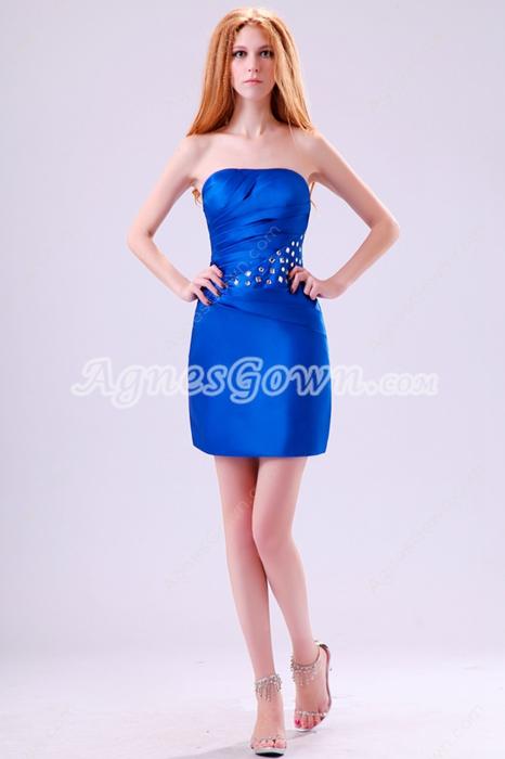 Hot Strapless Mini Length Royal Blue Satin Wedding Guest Dress