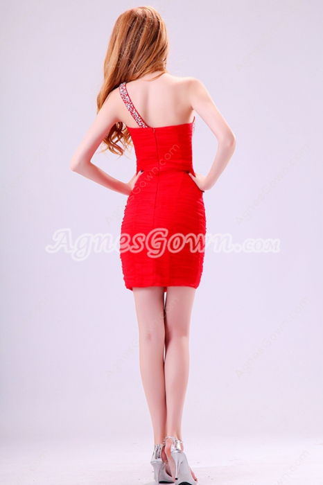 Hot One Shoulder Sheath Mini Length Red Chiffon Nighclub Dress